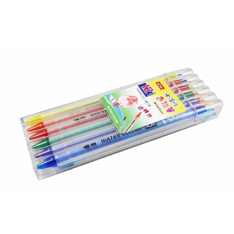 三角桿 旋轉式 12色水溶色鉛筆