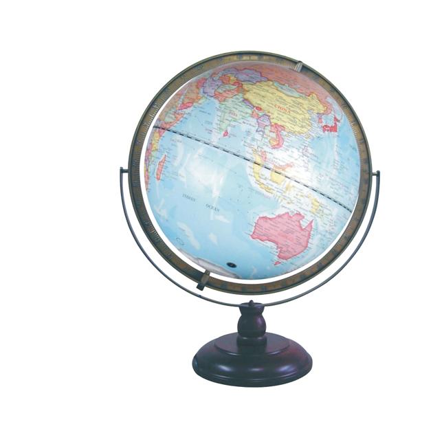 17吋立體地球儀(木座) 鋁尺 立體圖面