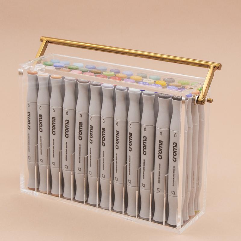 X5 軟毛麥克筆-48色手提壓克力盒